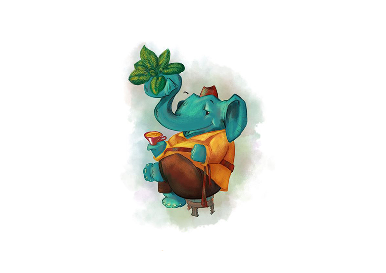 Tea Shop Elephant Illustration