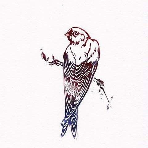 Swallow bird linoprint illustration