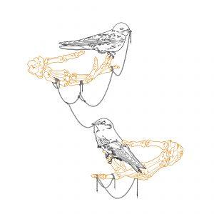 Swallows on skeleton hands illustration tattoo design