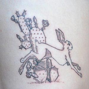 Jackrabbit and Opuntia cactus tattoo